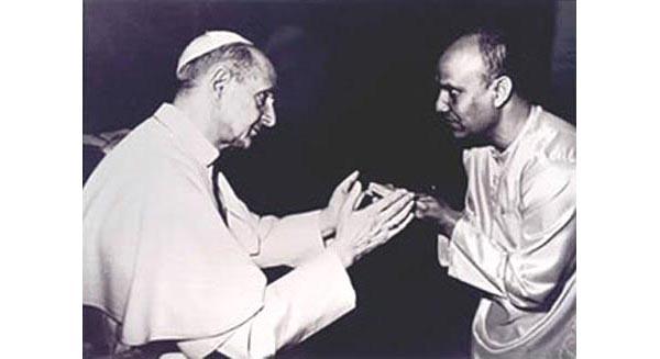 Pablo VI recibe el gurú