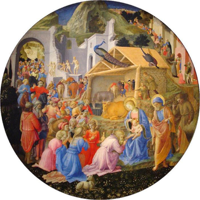 Fra angelico nativity with peacock