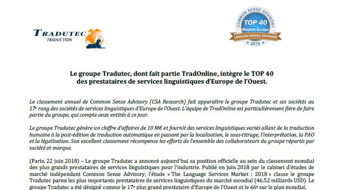 TradOnline fait partie du 17e plus gros groupe d'agences de traduction d'Europe de l'Ouest