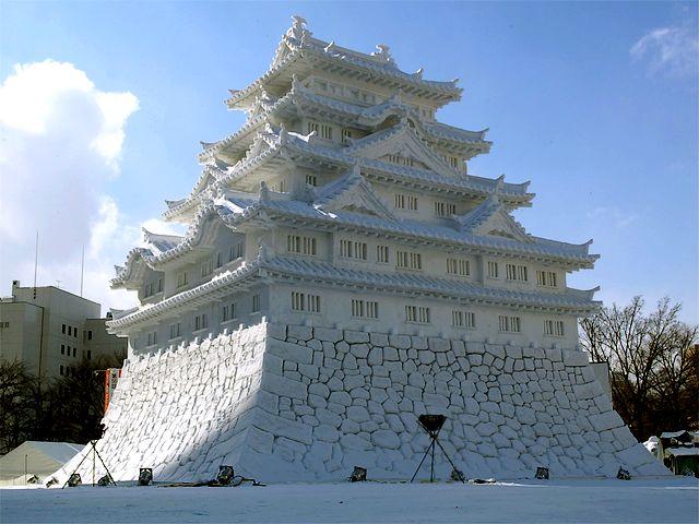 Snow-Sculpture-of-Japanese-Castle-in-Odori-Park-Hokkaido-Sapporo-Japan