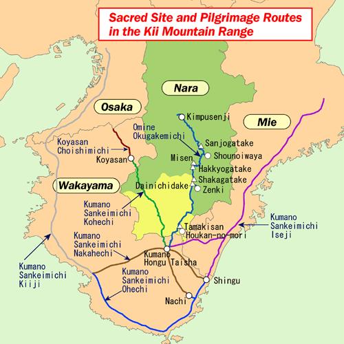Mappa delle vie di pellegrinaggio