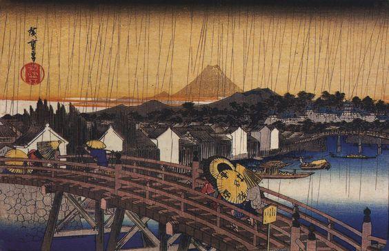 Hiroshige. Ponte sotto la pioggia