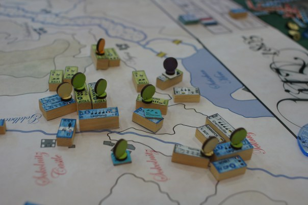 Units in combat with markers in wood