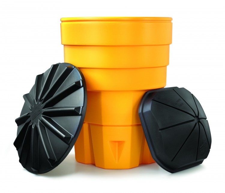 Yellow channelizer with two black lids leaning against it