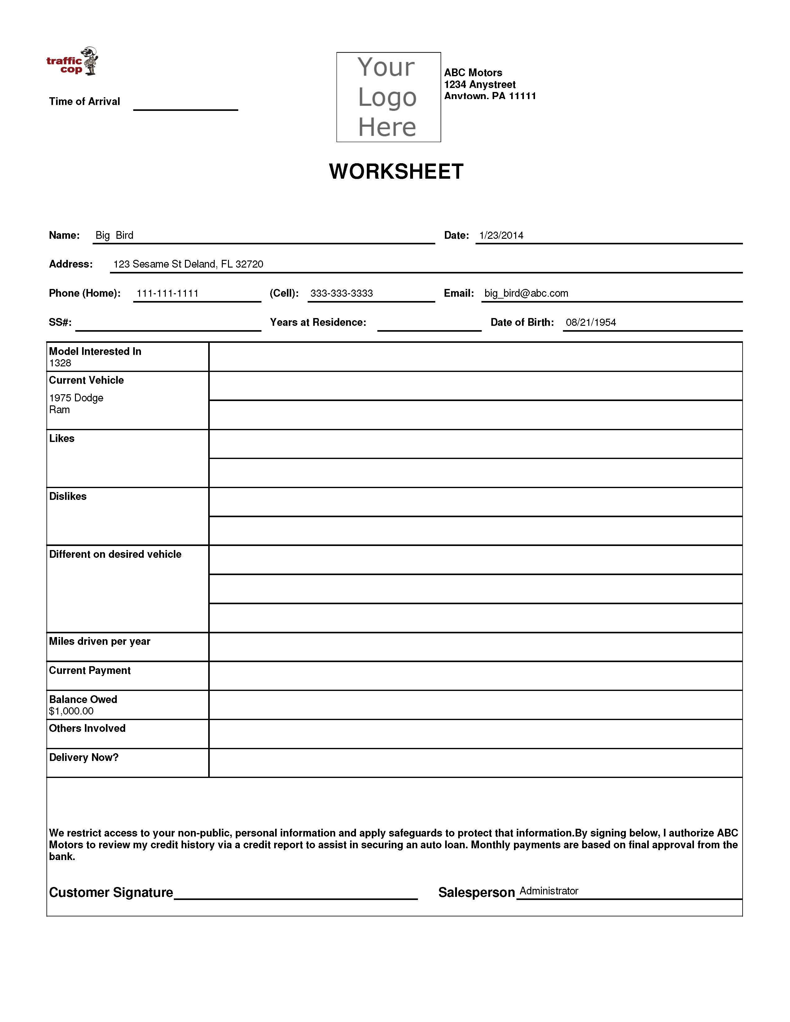 Worksheet 15 Traffic Control