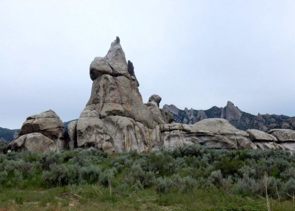 Chicken Rock. One of many stops along the automobile tour via City of Rocks Road.