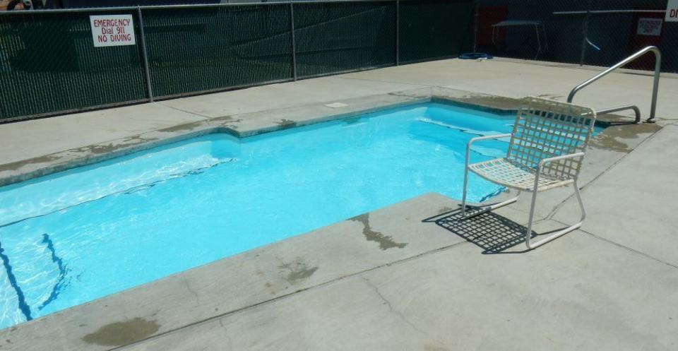 """We will spare you the blooded bathroom pictures. Instead, here is the """"swimming pool"""" in all its glory."""