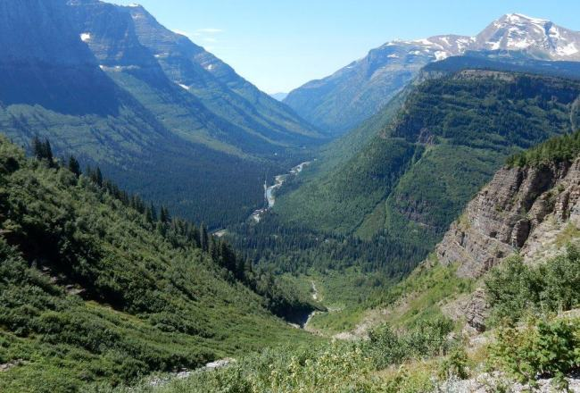 A hanging valley is a valley that is cut across by a deeper valley or a cliff.