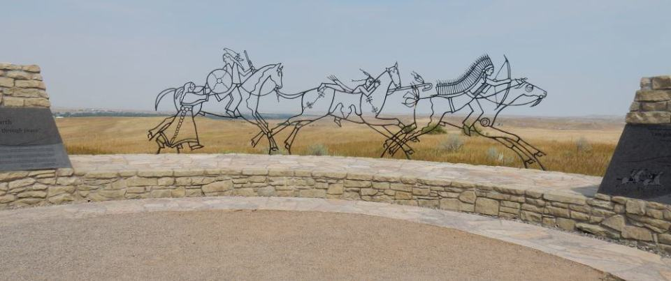 The recently added Native American monument to fallen warriors. The wire sculpture is vivid in photographs.