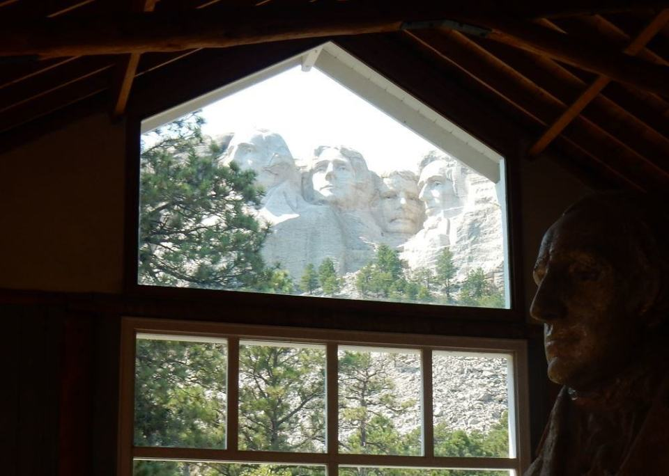 From the artist's studio you can view the mountain alongside the large plaster model it was designed from.