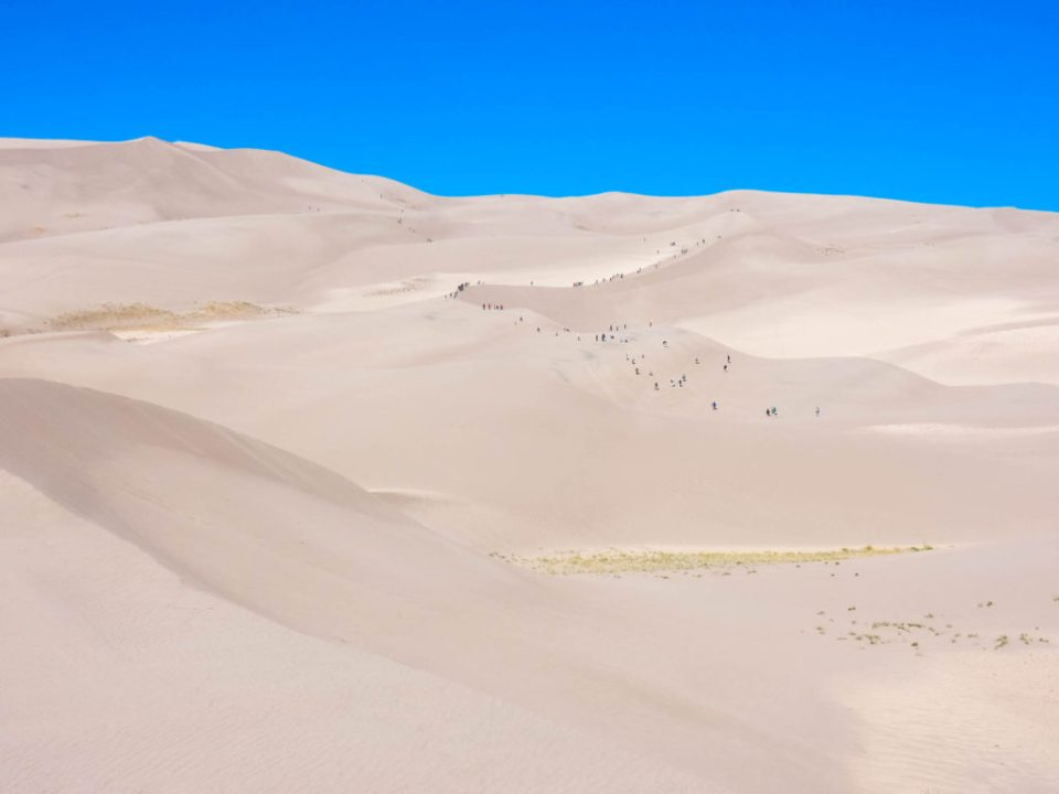 Hikers look very tiny against the mega sand dunes