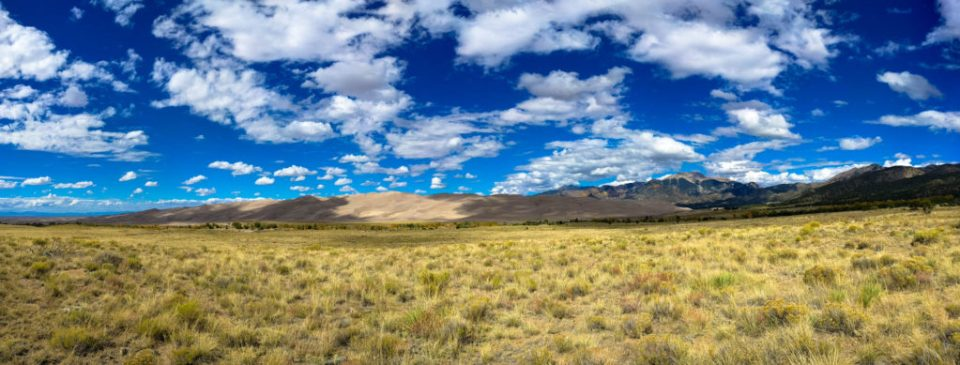 Great Sand Dunes Panorama From the Grasslands