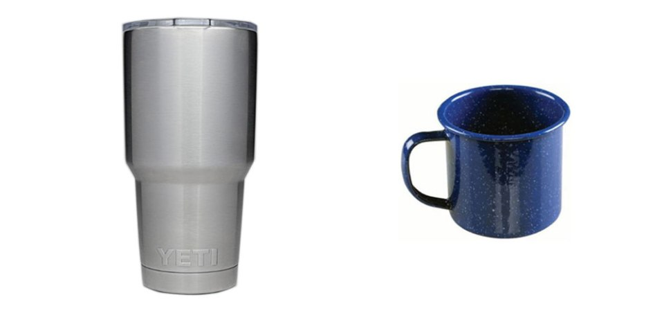 30 oz Tumbler and a Metal Enamel Camping Cup