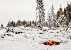 campfire during cold weather survival course