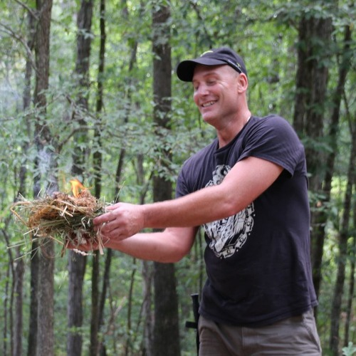 at survival school he created a friction fire during survival training
