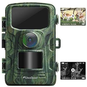 Usogood Trail Camera 14MP 1080P No Glow Game Hunting Camera with Night Vision Motion Activated IP66 Waterproof 2.4″ LCD for Outdoor Wildlife, Garden, Animal Scouting and Home Security Surveillance