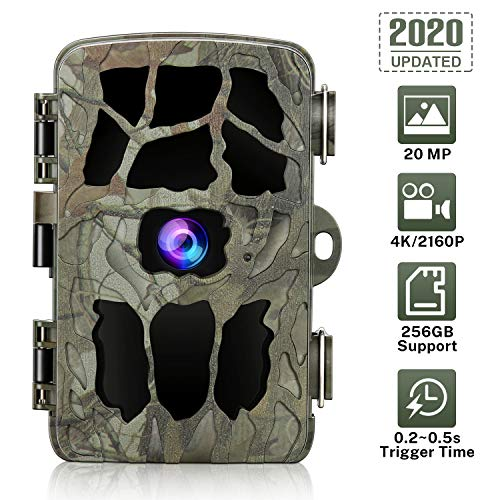 20MP Trail Camera 4K Game Camera, GRM Wildlife Hunting Camera with Night Vision Waterproof Security Camera 0.2s Trigger Time Motion Activated Support 256G TF Card (Not Included)