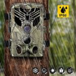 Taotique WiFi Trail Camera, 20MP 1080P Night Vision Motion Activated, IP66 Waterproof Game Hunting Scouting Cam with 3 Infrared Sensors for Outdoor Wildlife, Garden and Home Security Surveillance