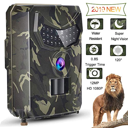 Womdee Trail Game Camera, 12MP 1080P HD Digital Waterproof Hunting Scouting Cam 120 Degree Wide Angle Lens with 0.8s Trigger Speed Motion Activated Night Vision for Wildlife Monitoring, Army Green