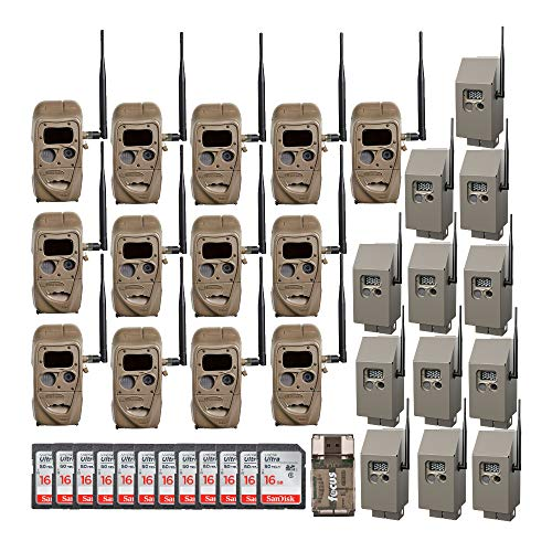 Cuddeback CuddeLink 20MP Black Flash J-Series Trail Camera (12-Pack) with Security Boxes, Memory Cards, and Focus Card Reader Bundle