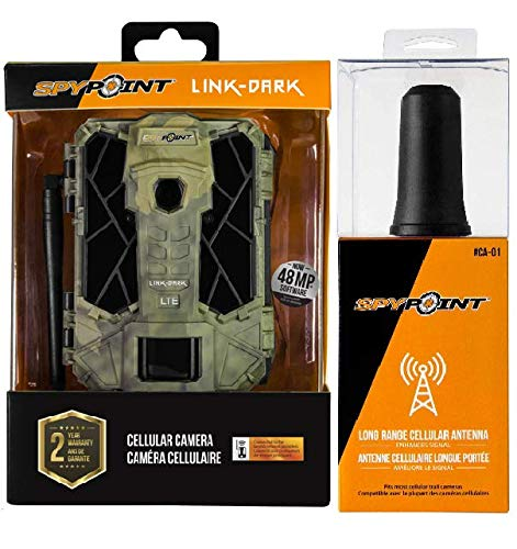 SPYPOINT Link-Dark-V Cellular MMS Programmable Infrared Trail Camera 4G/LTE (VERIZON) with CA-01 Long Range Antenna, 10MP HD Video with Free 2 Year Warranty(4G Camera, Long Range Antenna)