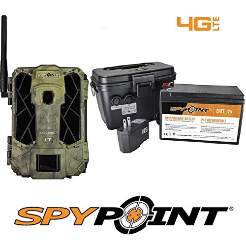 SPYPOINT Link-Dark-V Cellular MMS Trail Camera 4G/LTE (VERIZON) with Rechargeable Battery KIT-12V and Free 2 Year Warranty Deluxe Trail Camera Package(4G Camera, 12V Power Kit)