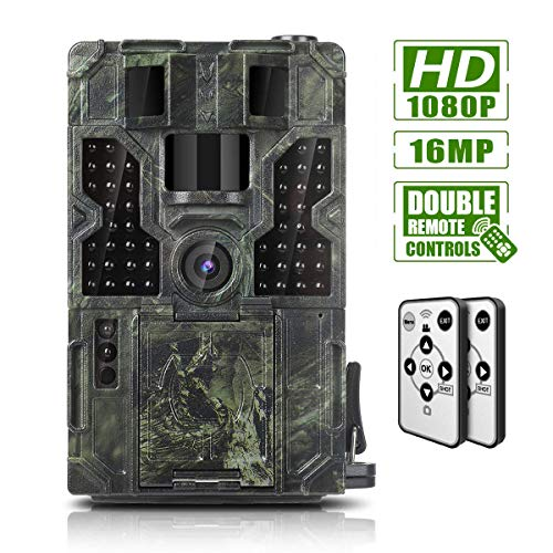 Trail Game Camera 16MP 1080P Waterproof Hunting Scouting Cam Wildlife Monitoring 130° Detection with 0.2s Trigger Speed 2.4″ LCD IR LEDs IP55 Waterproof Design
