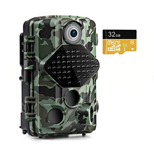 Usogood Trail Game Camera with 32GB Memory Card 20MP 1080P Night Vision Hunting Camera Motion Activated IP66 Waterproof 2.4″ LCD for Outdoor Wildlife, Garden, Animal Scouting and Security Surveillance