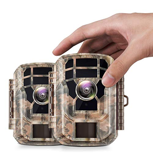 """【2 Pack 】 Campark Mini Trail Camera 16MP 1080P HD Game Camera Waterproof Wildlife Scouting Hunting Cam with 120° Wide Angle Lens and Night Vision 2.0"""" LCD IR LEDs"""