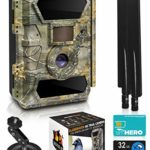 LTE 4G Cellular Trail Cameras – Outdoor WiFi Full HD Wild Game Camera with Night Vision for Deer Hunting, Security – Wireless Waterproof and Motion Activated – 32GB SD Card + Sim Card (1-Pack)