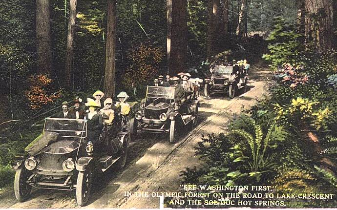 Back in 1912, this was the way to get to the hot springs. Talk about an epic trip!