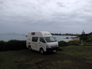 Our awesome little camping spot in Swansea with a nice beach view