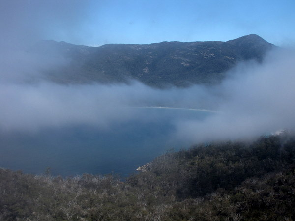A foggy but beautiful view of Wineglass Bay