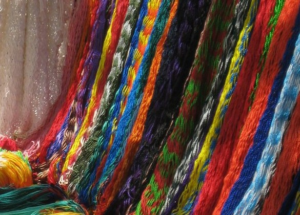Bright beautiful fabrics at the market