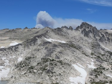 Plumes of smoke from nearby fires