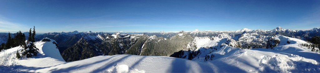 Panorama from the top of Dickerman. Baker, Glacier, and so many peaks!