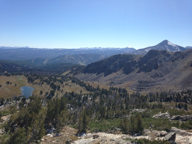 Looking down at the basin and lake from the boulder field below the Beehive Peak buttress