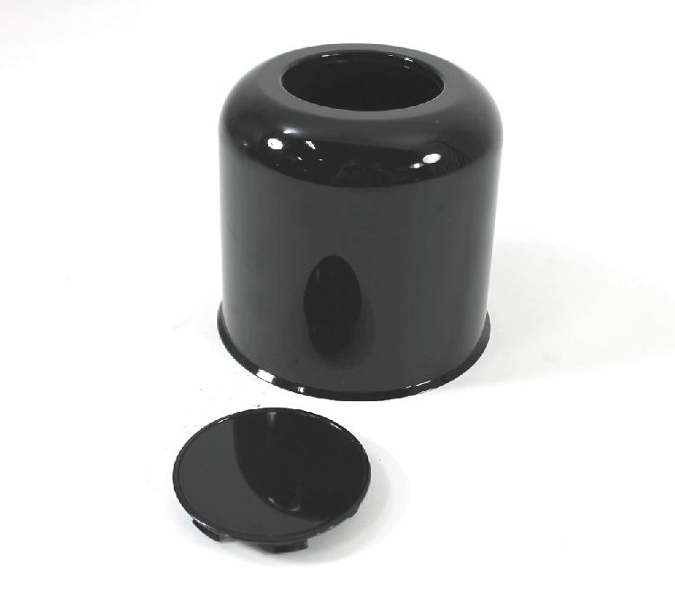 490 in Black ABS Plastic Trailer Wheel Center Cap Open
