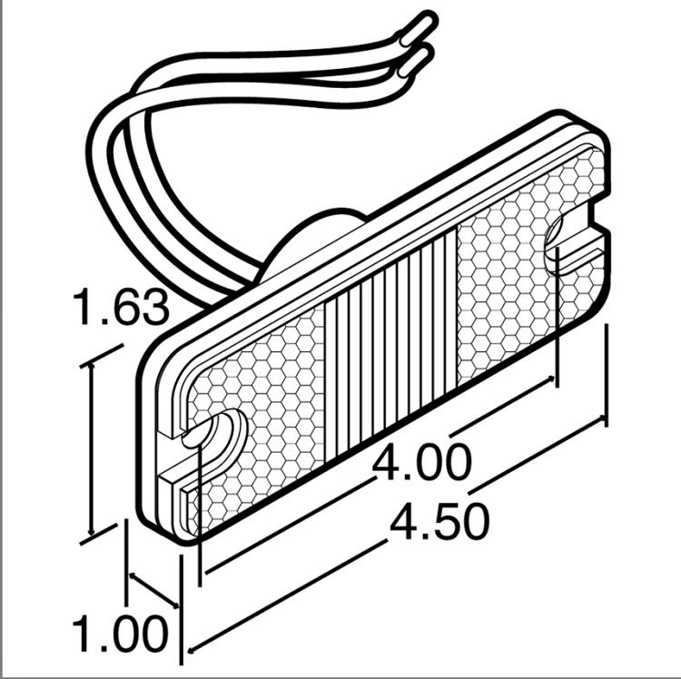 Truck-Lite 18 Series, LED, Red Rectangular, 3 Diode, Maker