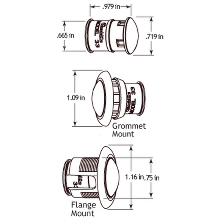 Truck-Lite 33 Series, LED, 1 Diode, Round Green, Auxiliary