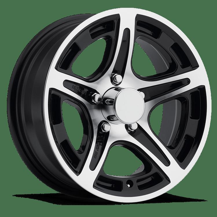 13x5 T12 Black Machined Aluminum Trailer Wheel 5x45