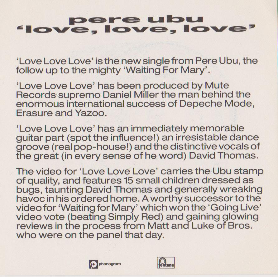 Pere Ubu – Love Love Love (1989) 7″