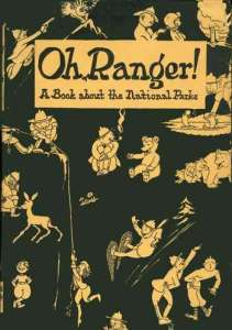 cartoon drawings of park rangers in activities such as snowshowing, talking to bears and deer, fishing, and rescuing a fallen climber