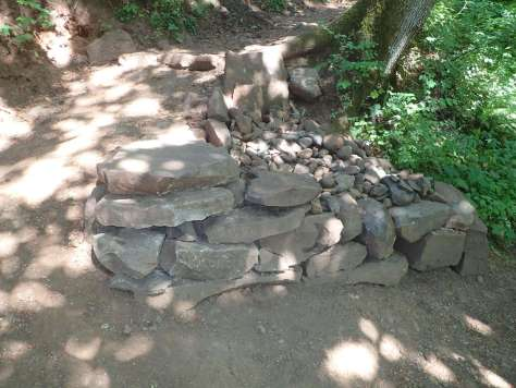 A small rock wall and river rock cover previously exposed tree roots as a trail curves around them.