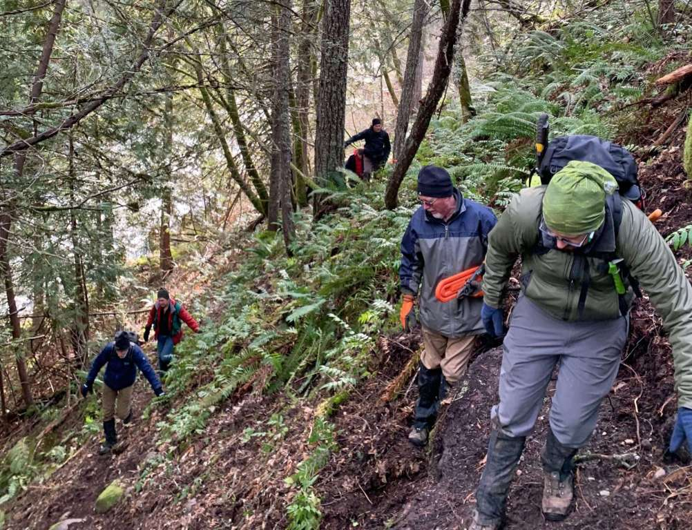 A half-dozen hikers spread out on a steep wooded slope.