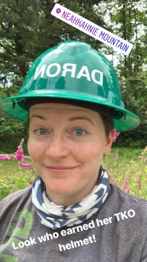 Picture of volunteer Daron when she earned her green hard hat