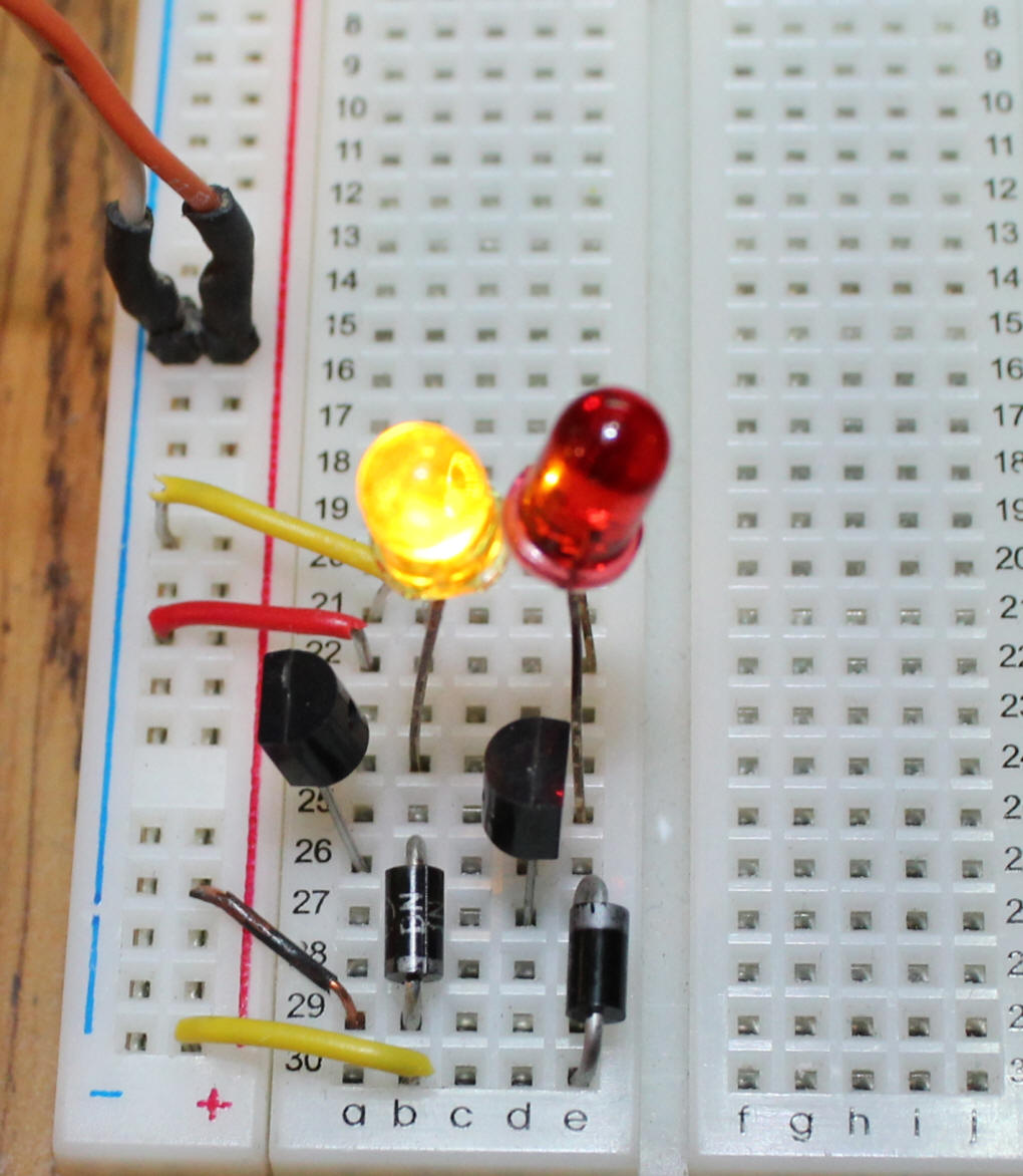 hight resolution of you will note that the bread board is slightly different from the schematic with the diode and led swapped on one section the two wiring methods are
