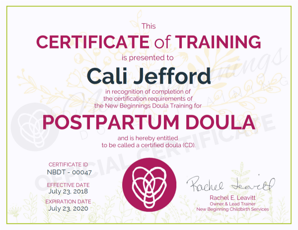 Certificate of Training - Cali Jefford - Postpartum Doula