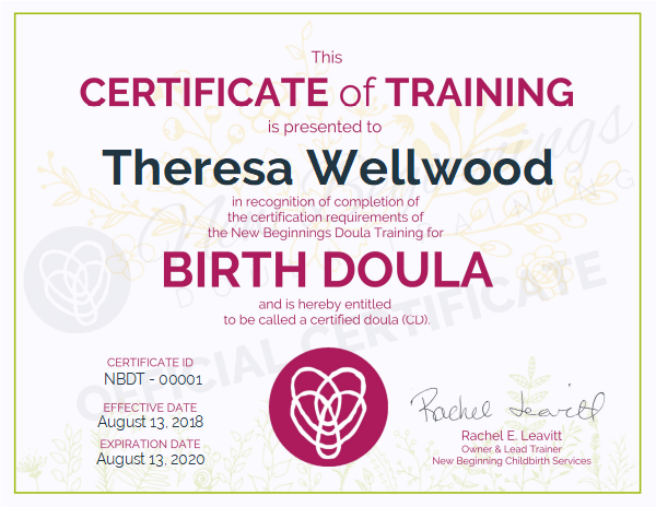 Theresa Wellwood, Certified Doula Serving the Stratford, Ontario Area