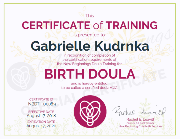 Certificate of Training for Gabrielle Kudrnka, Certified Birth Doula serving the greater St. Louis area